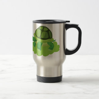 turtle walking in the grass travel mug