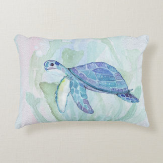 TURTLE WATERCOLOR PASTEL Accent Pillow