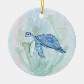 TURTLE WATERCOLOR PASTEL PERSONALIZED Ornament