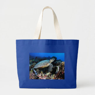 Turtle with fish jumbo tote