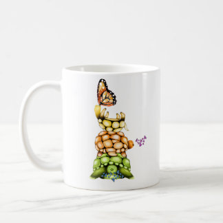 Turtles&Butterflies Mug, White Coffee Mug