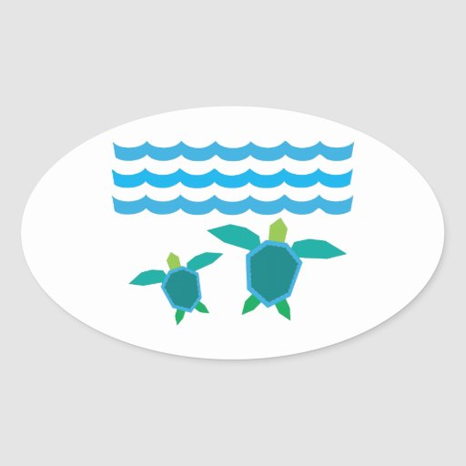 Turtles Oval Stickers