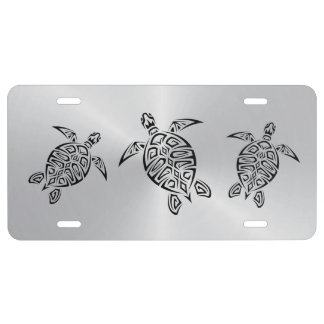 Turtles Tribal Silver License Plate