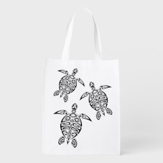Turtles Tribal Tatoo Animal Reusable Grocery Bag