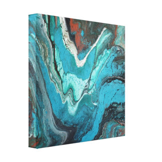 Turuoise Stone Copper Rock Marble Swirls Liquid Canvas Print