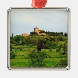 Tuscan Countryside Silver-Colored Square Ornament