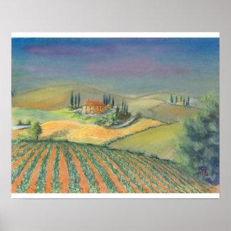 Tuscan landscape in evening light poster