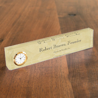 Tuscan Sun Desk Nameplate With Clock
