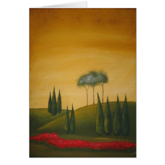 Tuscan Trees and Poppies Card