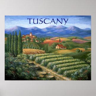 Tuscan Vineyard And Village Poster