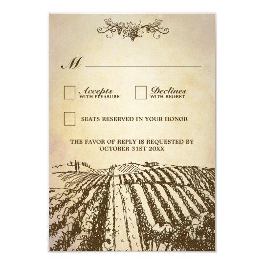 Tuscan Winery Rustic Vineyard Wedding RSVP Cards