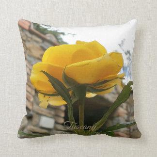 Tuscan yellow rose. throw pillow