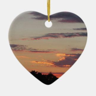 Tuscany countryside sunset ceramic heart ornament