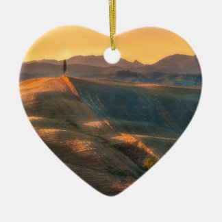 Tuscany Cypress Ceramic Heart Ornament