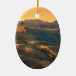 Tuscany Cypress Ceramic Oval Ornament