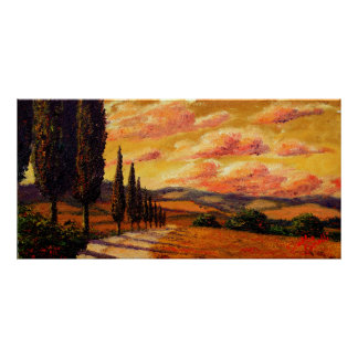 Tuscany Cypress Road Poster