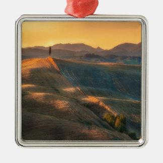 Tuscany Cypress Silver-Colored Square Ornament