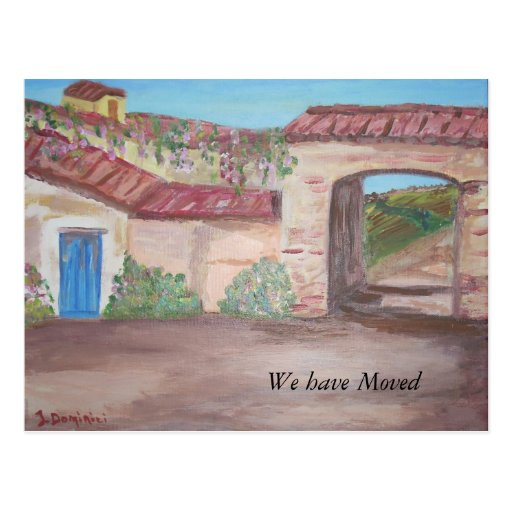 """Tuscany Farmhouse - """"We have Moved"""" Postcards"""