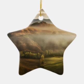 Tuscany fields in foggy sunrise ceramic star ornament