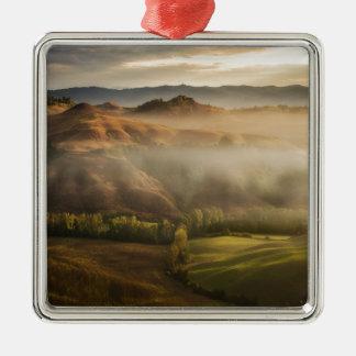 Tuscany fields in foggy sunrise Silver-Colored square ornament