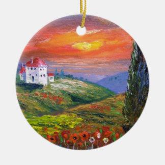Tuscany Fire Sky Round Ceramic Ornament