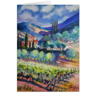"""tUSCANY Hillside in BLUES"" Card"