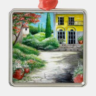 Tuscany House Design Silver-Colored Square Ornament