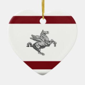 Tuscany (Italy) Flag Ceramic Heart Ornament