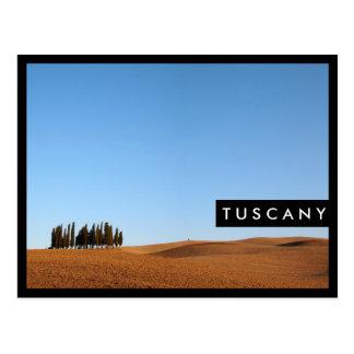 Tuscany landscape with cypresses stylish postcard
