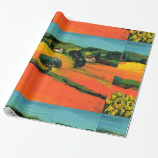TUSCANY LANDSCAPE WITH SUNFLOWERS WRAPPING PAPER