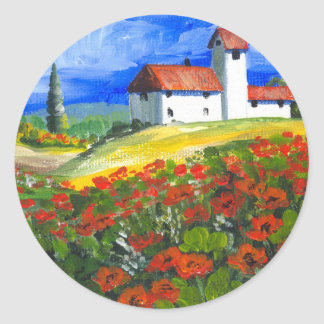 Tuscany Red Poppies Classic Round Sticker