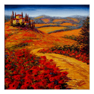 Tuscany Spring Road to the Villa Poster