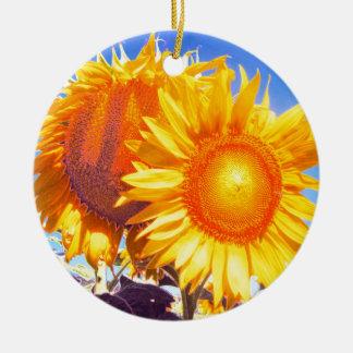 tuscany sunflower2.jpg round ceramic ornament