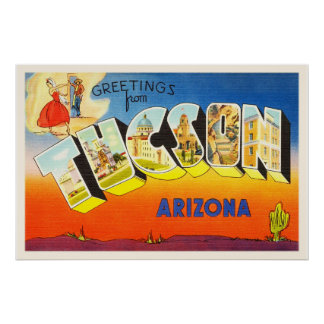 Tuscon Arizona AZ Old Vintage Travel Souvenir Poster
