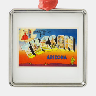 Tuscon Arizona AZ Old Vintage Travel Souvenir Silver-Colored Square Ornament