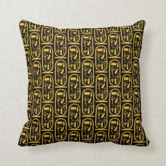 Tutankhamun Gold Cartouche Throw Pillow