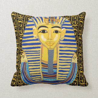 Tutankhamun Gold Mask and Cartouche Throw Pillow
