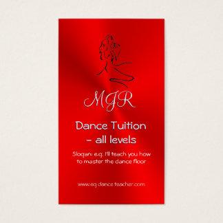 Tuteur de danse, monogramme, logo de danseurs sur cartes de visite