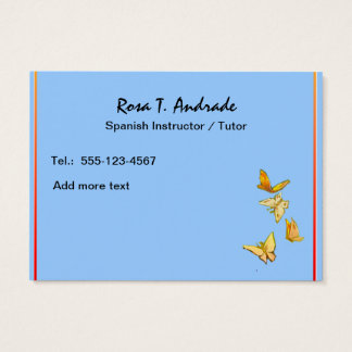 Tutoring Business Cards with Spanish Calendar