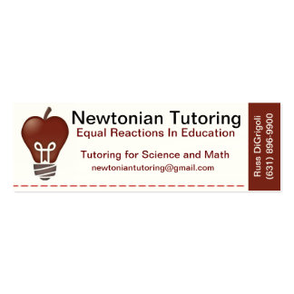 Tutoring Card Pack Of Skinny Business Cards
