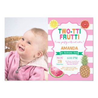 Tutti Frutti Birthday Party Invitation 2nd Bday