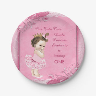 Tutu Cute 1st Birthday Brunette Princess Faux Lace Paper Plate