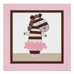 Tutu Cute/Ballerina Zebra Girl Poster Wall Art