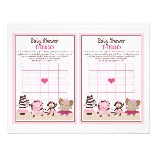 "Tutu Cute Ballet Animals ""Baby Shower Bingo"" sheet Flyer Design"