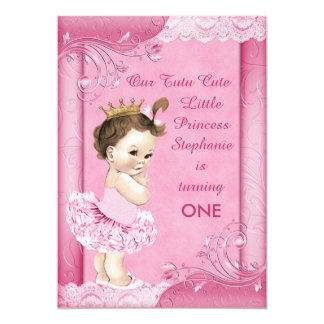 Tutu Cute Brunette Princess 1st Birthday Faux Lace Card