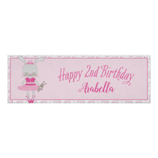 Tutu Cute Bunny Happy 2nd Birthday Personalized Poster