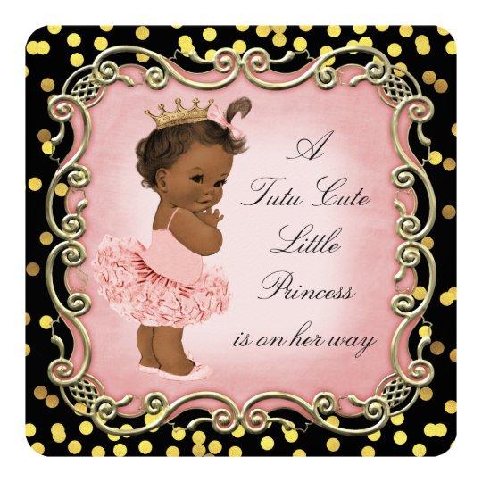Tutu Cute Ethnic Princess Black Gold Confetti Card
