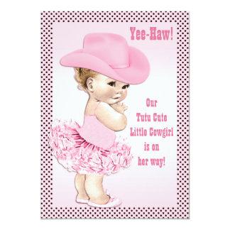 Tutu Cute Little Cowgirl Baby Shower Card