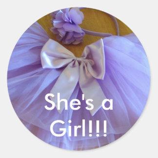 tutu CUTE, She's aGirl!!! Classic Round Sticker