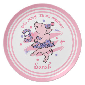 Tutu Piggy 3rd Birthday Plate